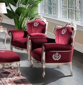 HERMITAGE Sessel, Klassischer Sessel mit rotem Samtbezug
