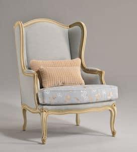 MARJA Sessel 8642A, Sessel von großer Wirkung, dekoriert in Holz für Wohnzimmer