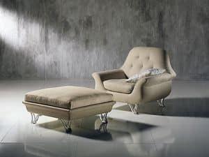 PO29 Cherubino, Wrap-Around-Sessel mit getufteten Rückenlehne, für die moderne Lounges