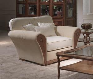 PO61 Charme, Polster klassischen Sessel, in eingelegtem Holz