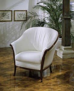 Pretorio, Sessel aus Leder mit Holzkonstruktion abgedeckt