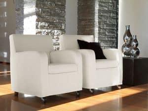 Teodora, Sessel mit Stahlrädern, für stilvolles Wohnzimmer