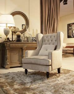 Venere Sessel, Stuhl mit Ottomane, Tufting-Rückenlehne