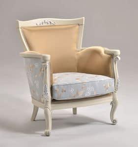 VENEZIA armchair 8294A, Klassischen Stil Sessel mit in Blattsilber Veredelung