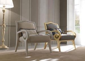 Zara 469 Sessel, Sessel aus Buchenholz, mit einem klassischen modernen Design für Wohnzimmer und Empfang