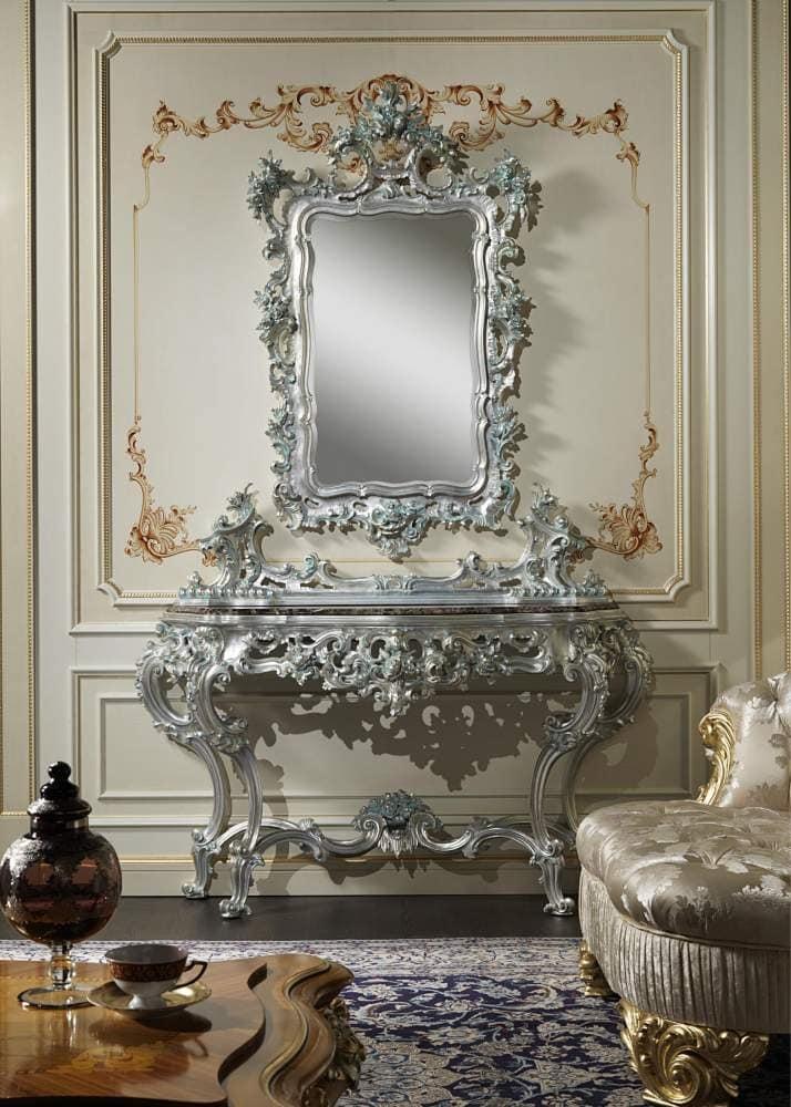 Art. 770 Barock-Konsole, Konsole mit handgefertigten Schnitzereien, kombiniert mit Spiegel