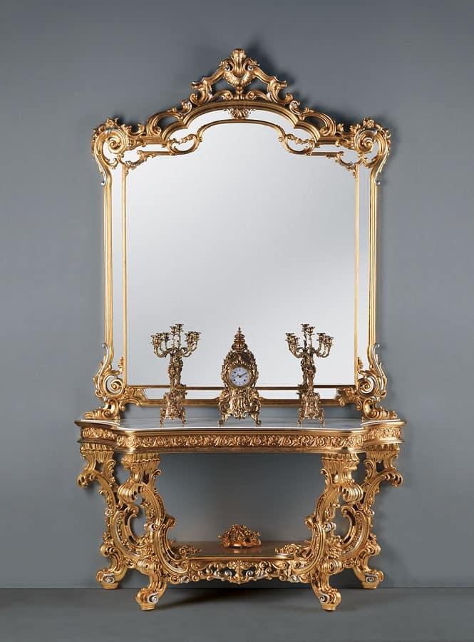 luxus wohnzimmer tische:Pin Barock Konsolentisch Silber Mit Marmorplatte Barock Möbel Essen