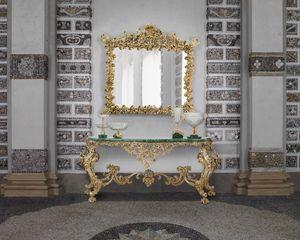 BAROQUE CONSOLE IN MALACHITE, Barocker Konsolentisch mit Malachitplatte