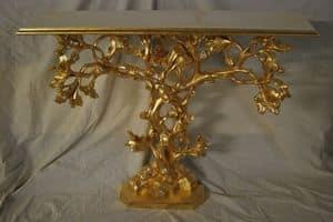 BAUM KONSOLE ART. CL0062, Baumförmigen Konsole, von Hand geschnitzt, vergoldet