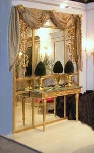 BOISERIE mit Konsole ART. BS 0002 + CL 0009, Boiserie Scheibe mit Konsole aus vergoldetem Holz und Spiegel
