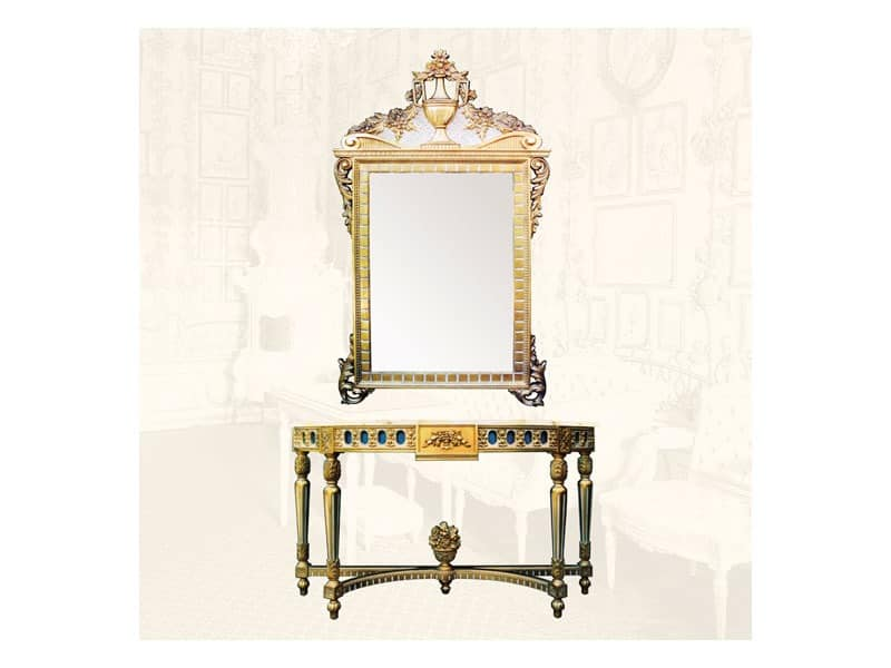 consolle mit gold veredelungen im stil louis xvi idfdesign. Black Bedroom Furniture Sets. Home Design Ideas