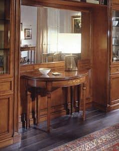 D 407, Klassischer Konsolentisch, eingelegtes Kirschholz