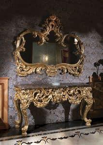 F105, Consolle Tisch mit Marmorplatte und Spiegel Gold