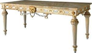KONSOLE ART. CL 0007, Gilded Konsole im Stil Louis XVI für Hotels, Marmorplatte