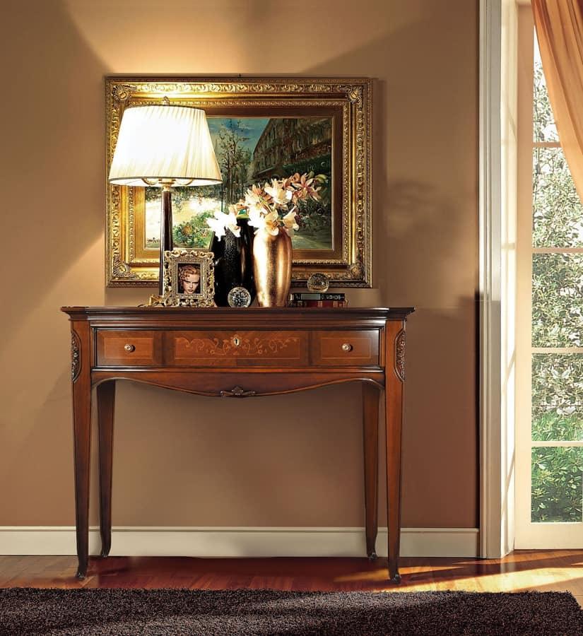 Praga Consolle, Beistelltisch aus Holz, handgeschnitzt, Luxus im klassischen Stil