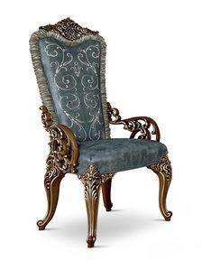 4609/A, Gepolsterter geschnitzter Stuhl mit Armlehnen