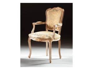 Art. 1440, Klassischer Stuhl mit Armlehnen aus Holz, Stil Louis XV