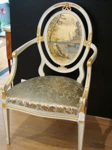 Art. 216, Klassischer Sessel für Esszimmer, mit ovalen zurück