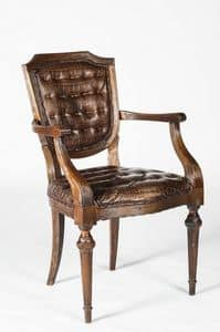 Art. 599/M, Stuhl aus Kalbsleder bedeckt mit Armlehnen, klassischen Stil