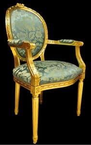 Art. L-794, Chair Kopfende des Tisches in Einlegearbeiten aus Holz, Sitz und Rücken gepolstert, lackiert Gold, im klassischen Stil