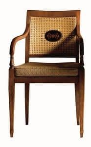 Cecilia FA.0155, Sessel mit Armlehnen aus Massivholz, Sitz gepolstert in Stoff bezogen, Netzrücken, im Stil Louis XVI