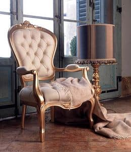 Giorgione Stuhl, Leder Polstersessel, für klassische Wohnzimmer