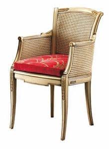 Isabella FA.0160, Canne Stuhl mit gepolstertem Sitz, ideal für Wohnräume im klassischen Luxus-Stil