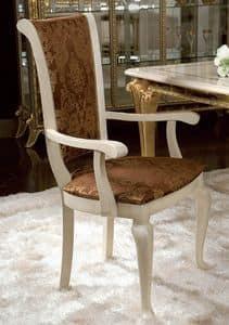 Raffaello Stuhl mit Armlehnen, Klassischer Stuhl mit Armlehnen, mit Blumenschmuck