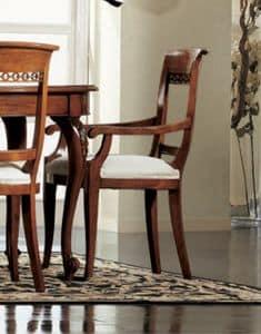 Settecento Stuhl Kopf des Tisches, Stuhl Kopf des Tisches, voll gestopft, mit klassischen Schnitzereien