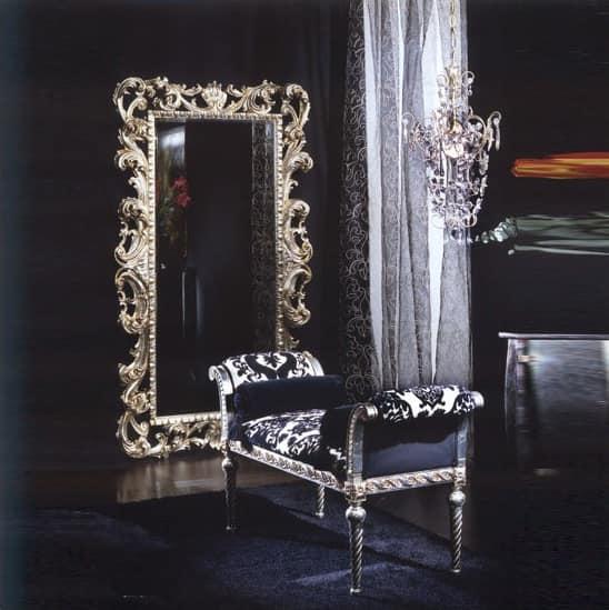701 BENCH, Gepolsterte Bank mit Rollen, Luxus klassischen Stil