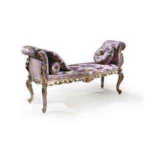 Bijoux C/726/B, Gepolsterte Bank klassischen Luxus, Einlegearbeiten aus Holz