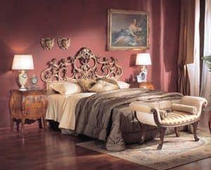 3245 BED, Luxus klassischen Bett, handgeschnitzt, Blattsilber