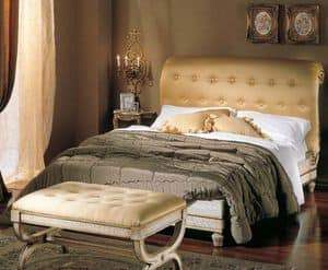 3295 BED, Bett mit gepolstertem Tufting-Kopf, cracrè Finish