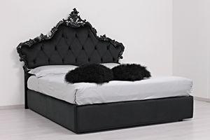 Luana Stoff, Doppelbett mit gepolstertem Kopfteil, im klassischen Stil