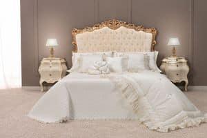 Angela Bett, Klassisches Doppelbett mit gepolstertem Kopfteil getuftet Finish