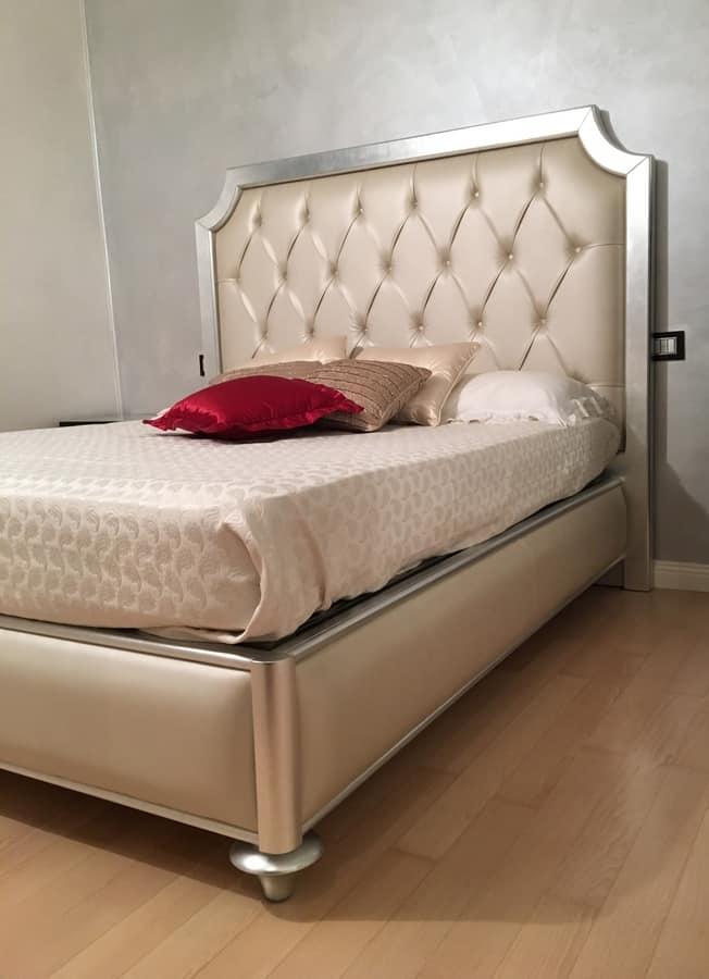 Art. 1790 Cristina, Luxus klassischen Bett, Blattsilber Finish, für Hotels
