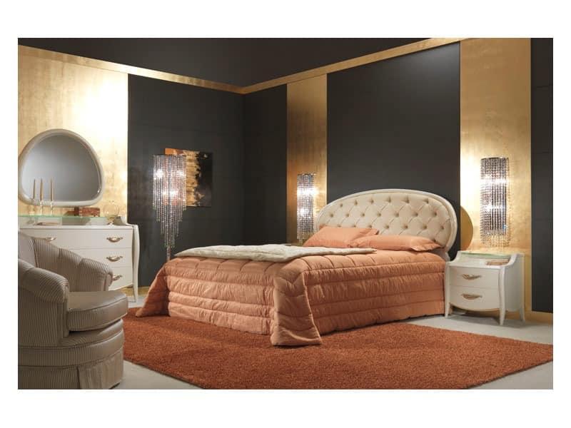 Art. 2010-T Bett, Bed bedeckt in Leder, büschelig, für Luxus-Zimmer