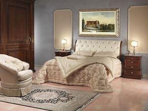 Art. 2026/952/2/C bed, Luxus-Bett, in Holz und Leder, für 5 Sterne Hotel