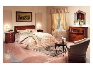 Art. 2026/952/2/L bed, Hand dekoriert Bett, in Holz, in der Classic-Zimmer