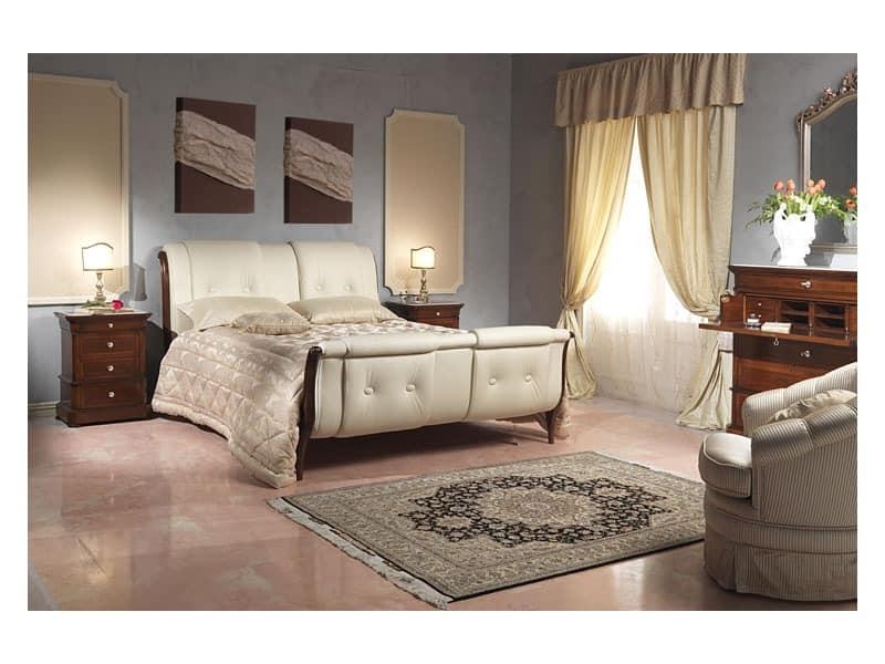 Art. 2036 bed, Bett mit Kopfteil aus Leder und feetboard, für Hotelzimmer