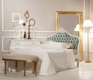 Art. 21612, Klassisches Bett, mit antikem weißen Finish