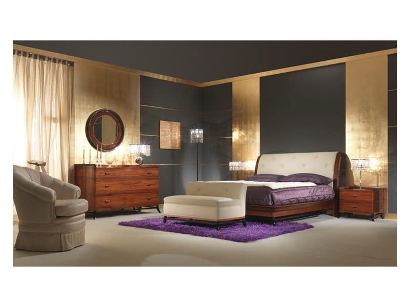 Art 509 Bett, Massivem Palisander Bett, Kopfteil aus Leder, klassischen Stil