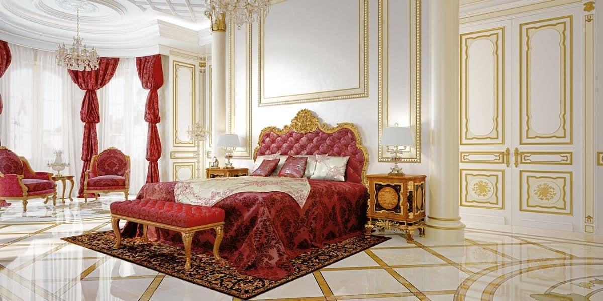 klassischer luxus doppelbett mit kopfteil geschnitzt. Black Bedroom Furniture Sets. Home Design Ideas