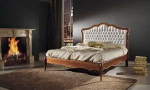 Art. 800, Bett mit getuftetem Kopfteil, in Holz mit Inlays