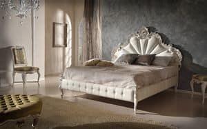 Art. 802, Holzgeschnitztes Bett mit Bettrahmen gepolstert