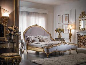 Art. 9097, Klassisches Bett mit Schnitzereien, gepolstertes Trittbrett
