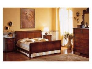 Art. 973 '800 Siciliano, Bett in handgeschnitzte Holz, für ein Doppelzimmer