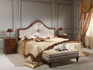 Art. 986-940 bed, Bed in Massivholz, in Samt, zum Luxushotel