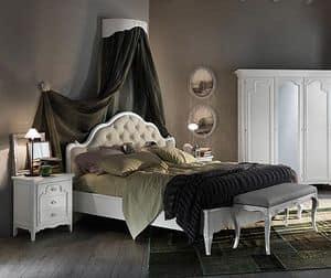 Art. AX714, Bett mit gesteppten Polsterung, mit einem handgefertigten Design