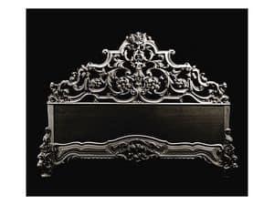 Bed art. 600, Klassische Bett mit Kopfteil in handgeschnitzte Holz